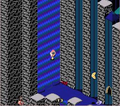 The fishtail power-up gives you the ability to swim up waterfalls. However, the power-up itself is very heavy! If it lands on you, you'll be flattened!