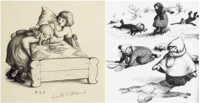Garth WIlliams's iconic illustrations from Little House in the Big Woods.